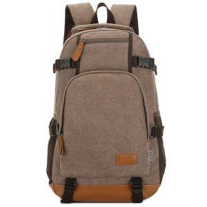 Casual PU Leather Spliced Canvas Backpack - Coffee - 40