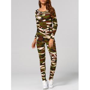 Long Sleeve Camouflage Print Jumpsuit - Camouflage - S