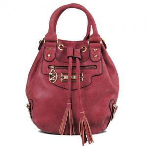Metal Eyelet PU Leather Tassel Handbag - Deep Red