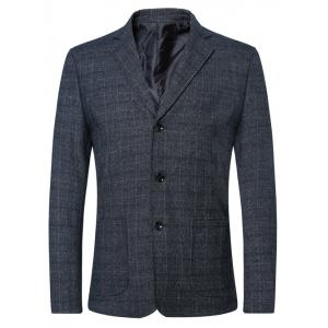 Single Breasted Lapel Plaid Long Sleeve Jacket Blazer - Blue - M