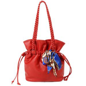 Scarves Braid PU Leather Drawstring Bag - Red - 42