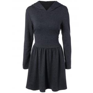Hooded Long Sleeve Dress with Criss Cross