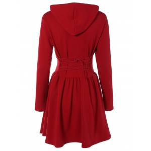 Hooded Long Sleeve Dress with Criss Cross - Wine Red - M