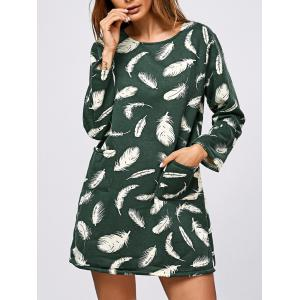 Feathers Print Thicken Long Sleeve Tunic Dress