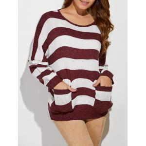 Scoop Neck Striped Color Block Sweater