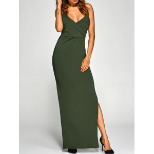 Backless High Split Surplice Maxi Club Dress