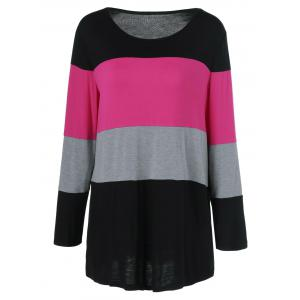 Plus Size Colorful Striped Comfy T-Shirt - Black And Pink - 4xl