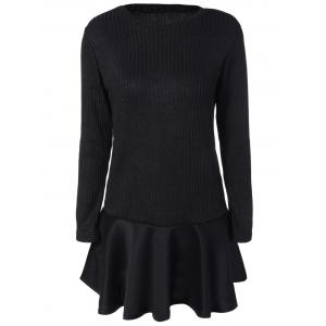 Flounce Ruffles Long Sleeve Knitting Dress - Black - 2xl