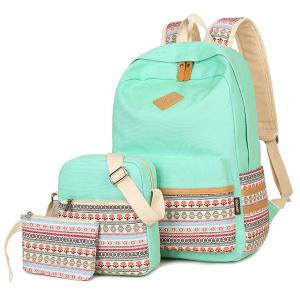 Colour Block Flower Pattern Canvas Backpack - Light Green - L