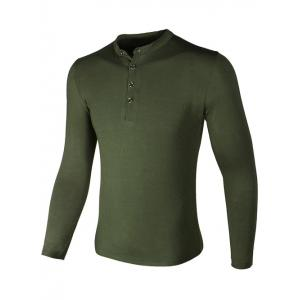 Grandad Collar Buttons Design Long Sleeve T-Shirt