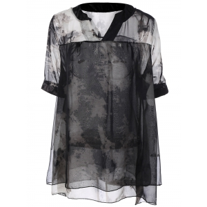 Plus Size Ink Painting Print Chiffon Blouse