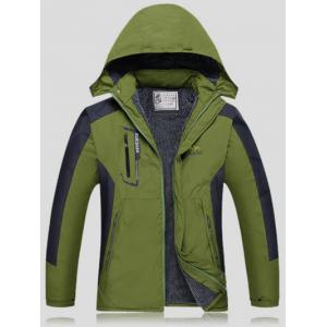 Color Block Detachable Hood Ski Jacket - Army Green - 4xl