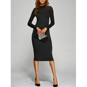 Long Sleeve See-Through Midi Bodycon Dress