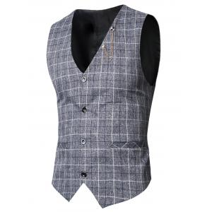 V-Neck Single-Breasted Checked Waistcoat - Deep Gray - L