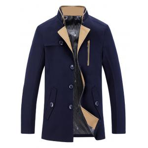 Stand Collar Single-Breasted Zipper Embellished Trench Coat - Deep Blue - L