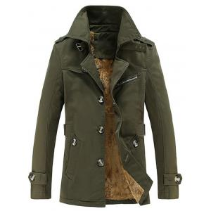 Turn-Down Collar Single-Breasted Zip Embellished Fleece Coat - Army Green - Xl