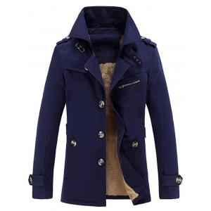 Turn-Down Collar Single-Breasted Zip Embellished Fleece Coat - Deep Blue - M