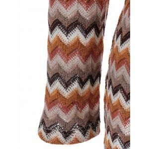 Zigzag Pattern Button Embellished Knitted Pullover -