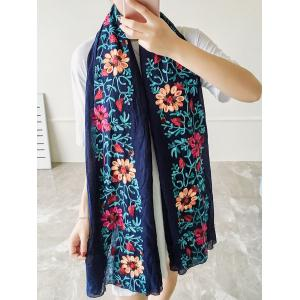 Ethnic Style Flower Embroidered Linen Scarf -
