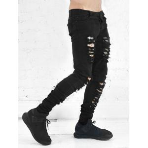 Zipper Fly Black Ripped Skinny Jeans -