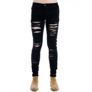 Zipper Fly Black Ripped Skinny Jeans