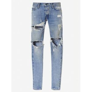 Zip Cuff Knee Hole Narrow Feet Ripped Jeans - Light Blue - 34