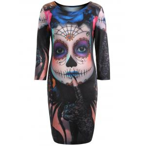 Diable Skull Imprimer Mini Robe moulante - Multicolore 4XL
