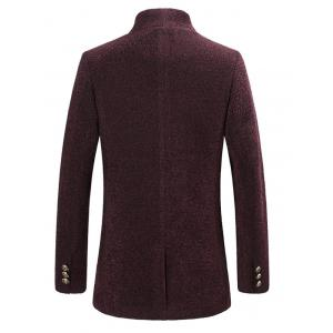 Slim-Fit Single Breasted Rough Wool Mix Coat - WINE RED 4XL