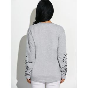 Extra Long Sleeve Graphic Sweatshirt - LIGHT GRAY L