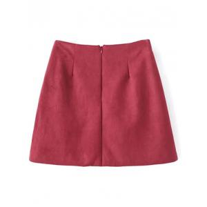 Embroidered Faux Suede Winter Skirt -