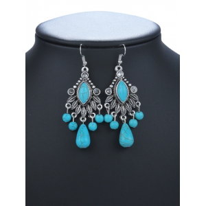 Zircon Turquoise Chandelier Earrings - TURQUOISE GREEN