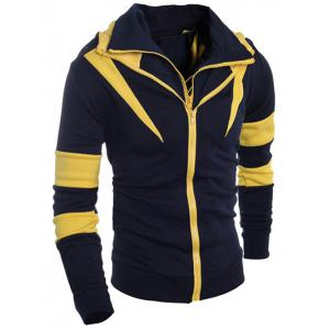 Contraste Couleur Paneled Drawstring Double Zip Hoodie -