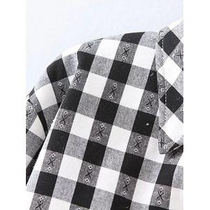 Plus Size Fleece Lined Checked Shirt - WHITE/BLACK 4XL