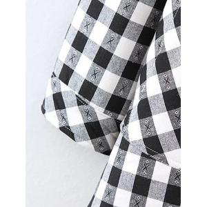 Plus Size Fleece Lined Checked Shirt - WHITE AND BLACK 4XL