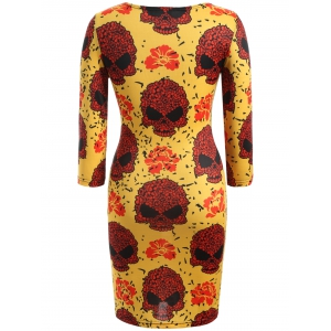 Skull Print Halloween Bodycon Dress - DEEP YELLOW 3XL