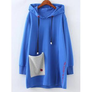 Pocket Plus Size Pullover Hoodie - Blue - Xl