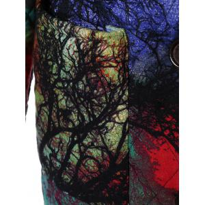 Hooded Tree Print Plus Size Coat - COLORMIX 4XL