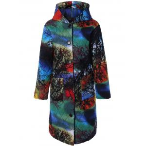 Hooded Tree Print Plus Size Coat
