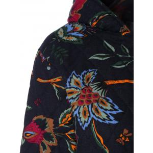 Hooded Floral Print Plus Size Coat -