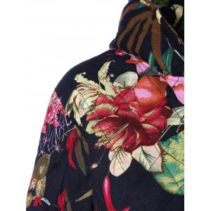 Hooded Floral Printed Plus Size Coat - BLACK 4XL