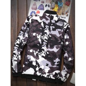 Zipper-Up Pocket Stand Collar Camouflage Jacket -