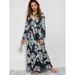 Long Sleeve Paisley Pattern Maxi Wrap Dress -