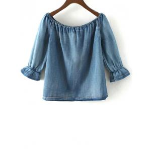 Off The Shoulder Pockets Denim Blouse -