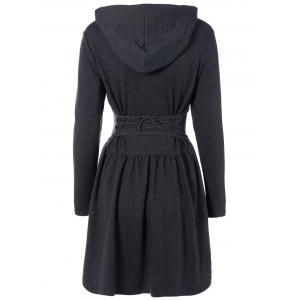 Hooded Long Sleeve Dress with Criss Cross - DEEP GRAY 2XL