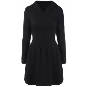 Hooded Long Sleeve Dress with Criss Cross - BLACK 2XL