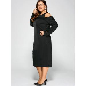 Cold Shoulder Plus Size Long Sleeve Cream Dress with Zipper - BLACK 3XL