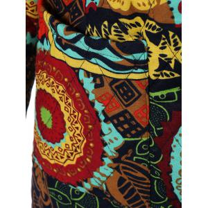 Hooded Ethnic Print Plus Size Coat - COLORMIX 4XL