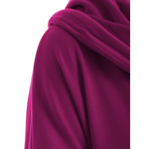 Asymmetrical Pocket Design Loose-Fitting Neck Hoodie -