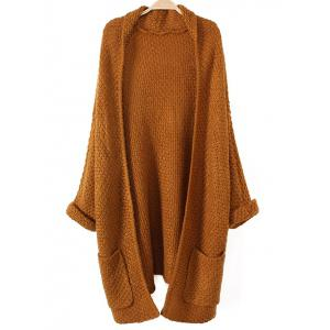 Turnup Sleeves Pockets Knitted Cardigan - Khaki - One Size