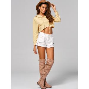 Drawstring Long Sleeve Hooded Crop Top - LIGHT APRICOT M